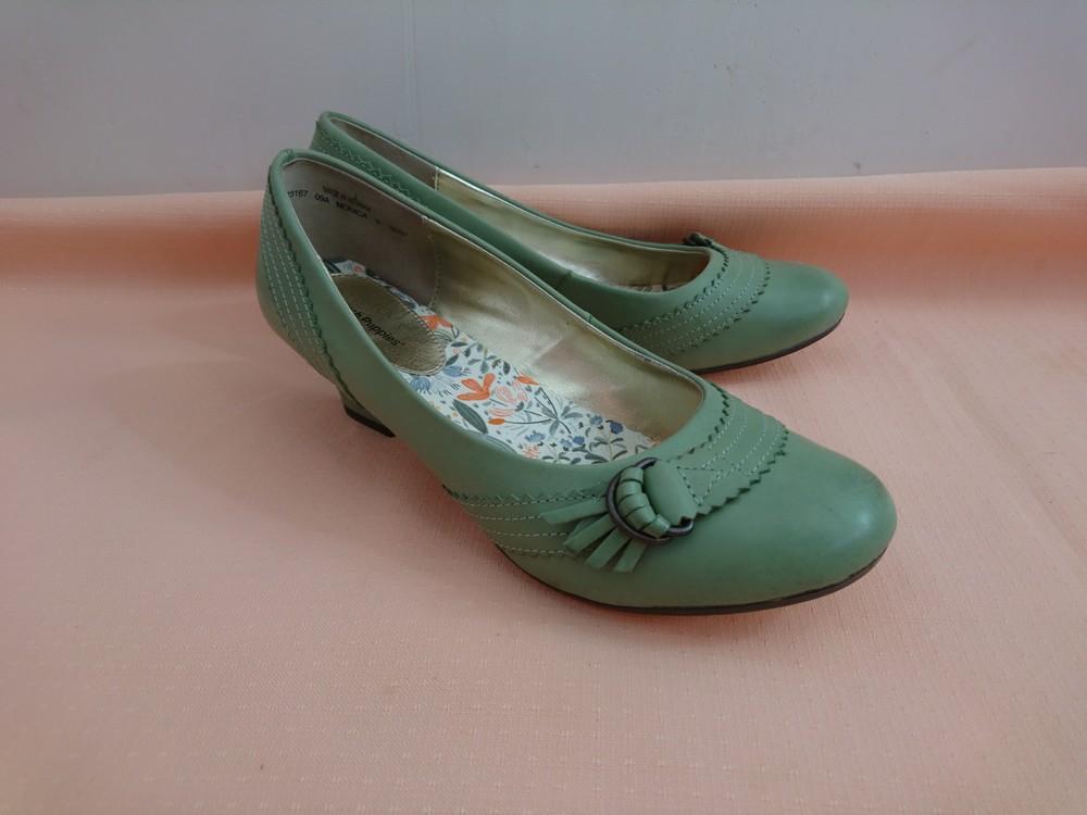 Туфли зелёные на маленьком каблуке размер 38 фото №3