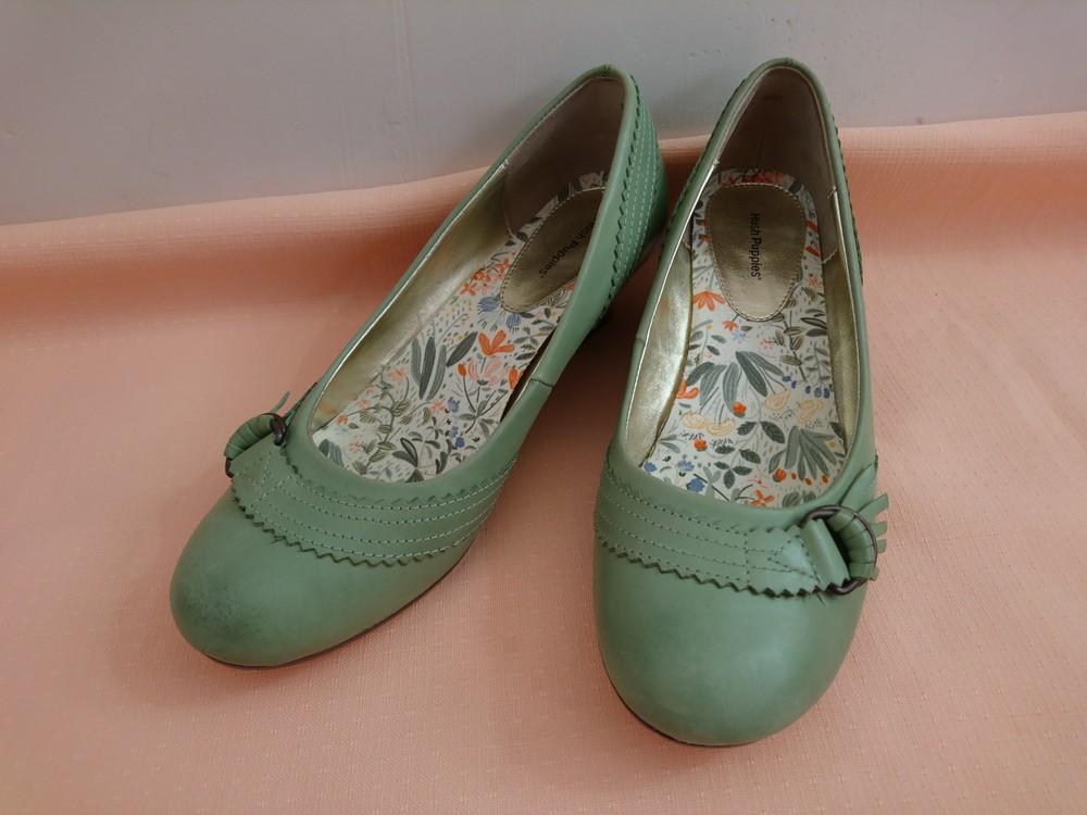 Туфли зелёные на маленьком каблуке размер 38 фото №5