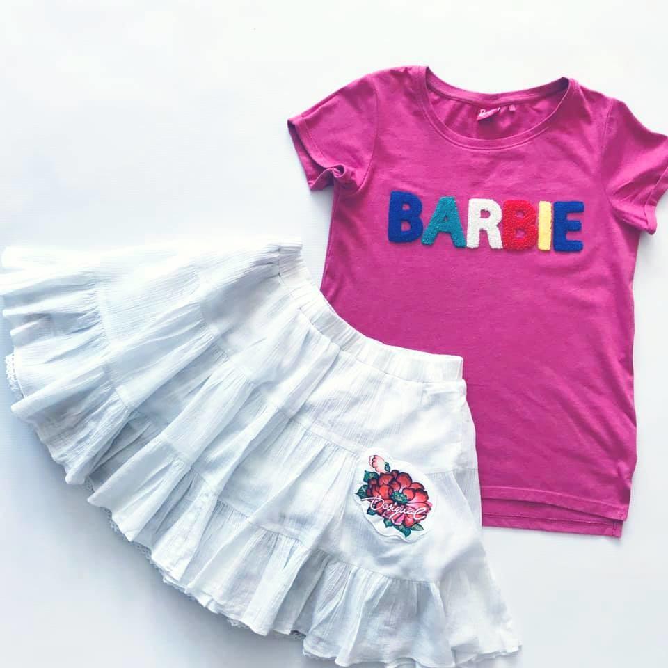 Стильная next футболка barbie с объемными мягкими буквами на р140/146 фото №9