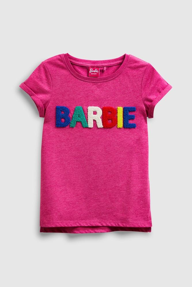 Стильная next футболка barbie с объемными мягкими буквами на р140/146 фото №1