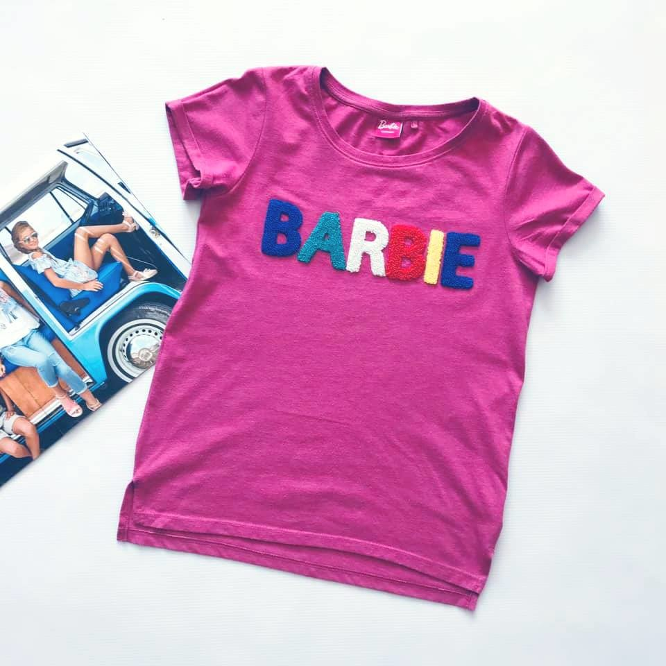 Стильная next футболка barbie с объемными мягкими буквами на р140/146 фото №2