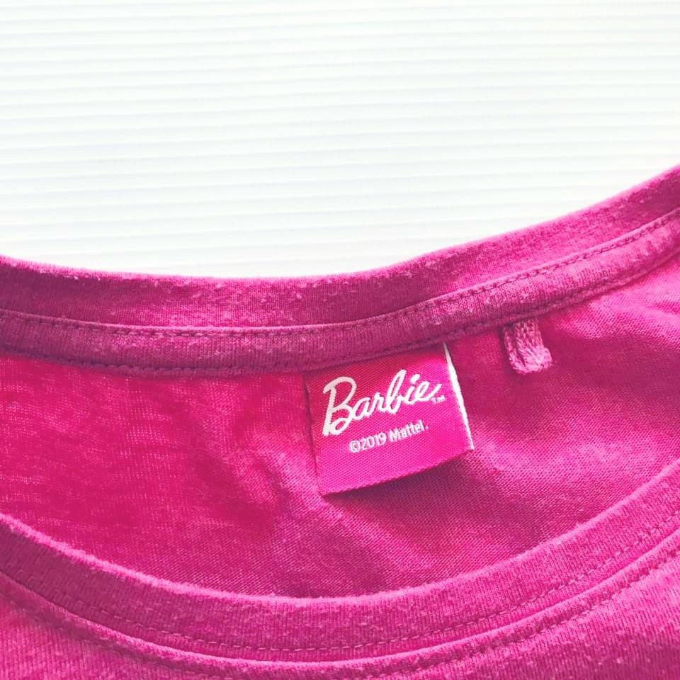 Стильная next футболка barbie с объемными мягкими буквами на р140/146 фото №7