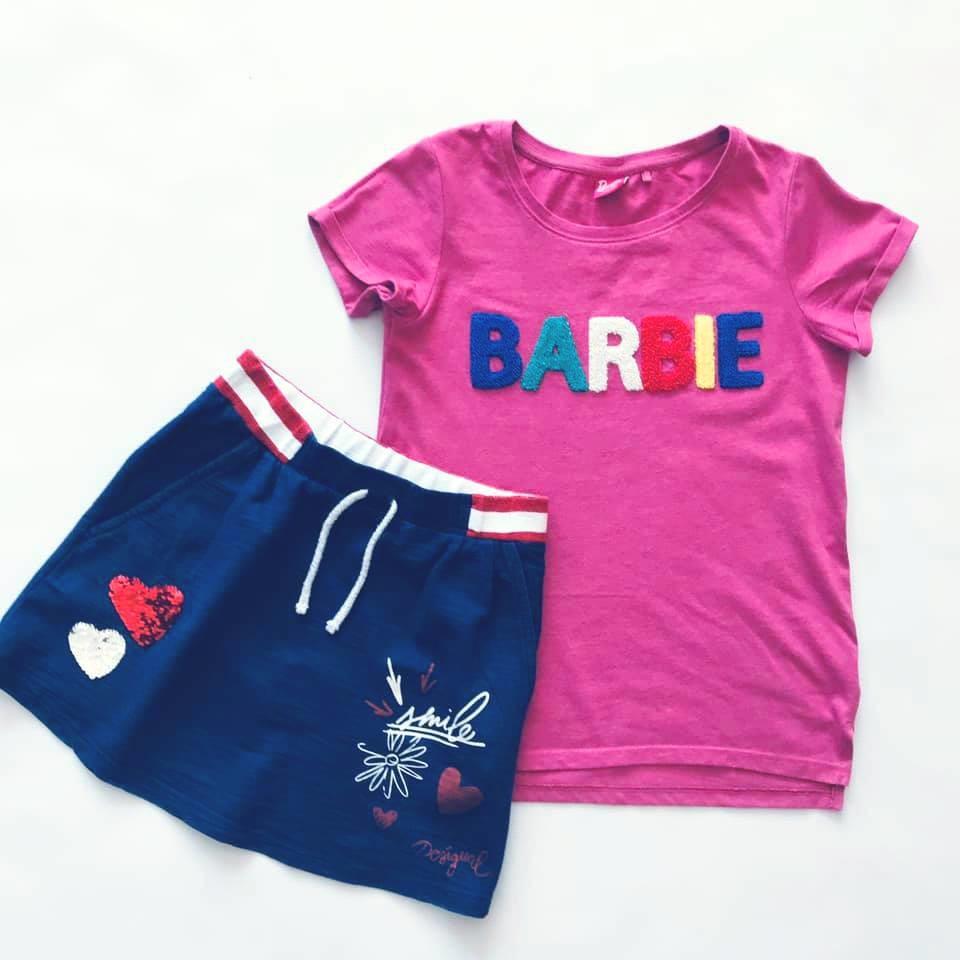 Стильная next футболка barbie с объемными мягкими буквами на р140/146 фото №8
