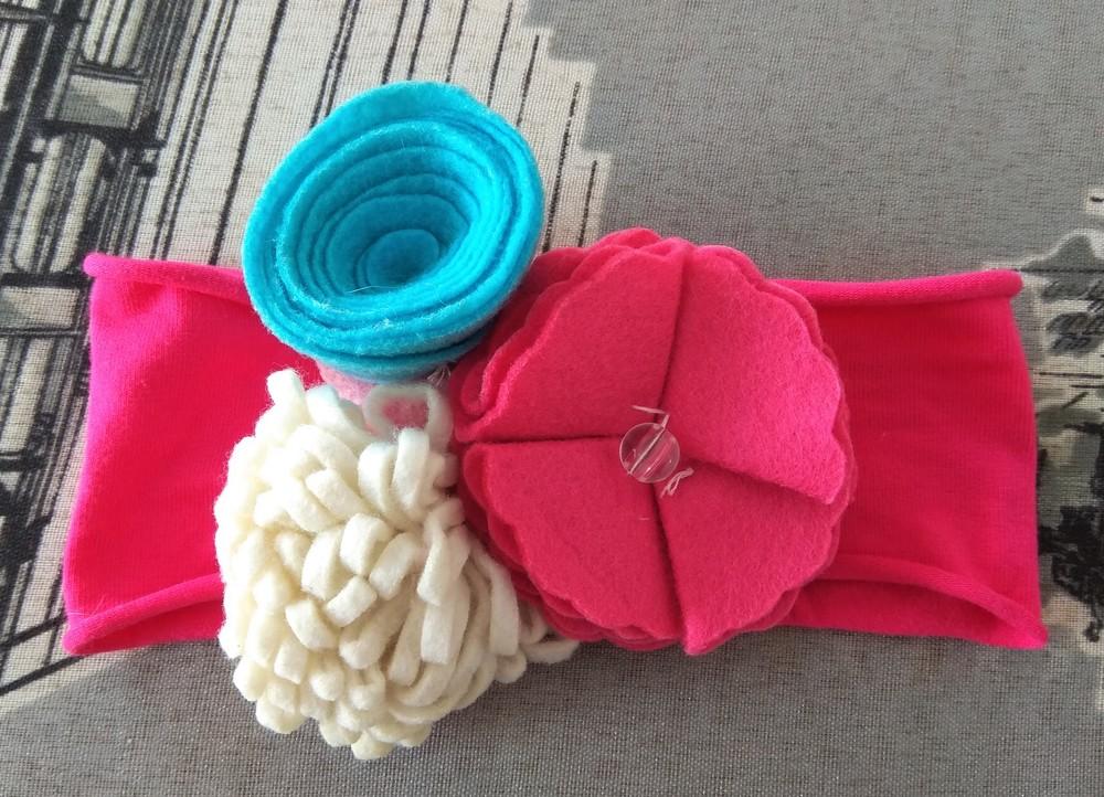 Розовая повязка с цветами для принцессы р. 12 мес фото №1