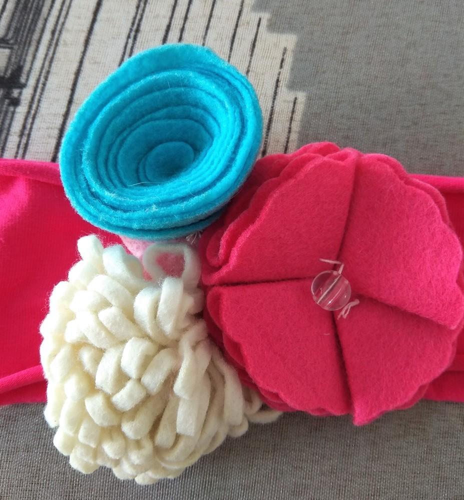 Розовая повязка с цветами для принцессы р. 12 мес фото №2