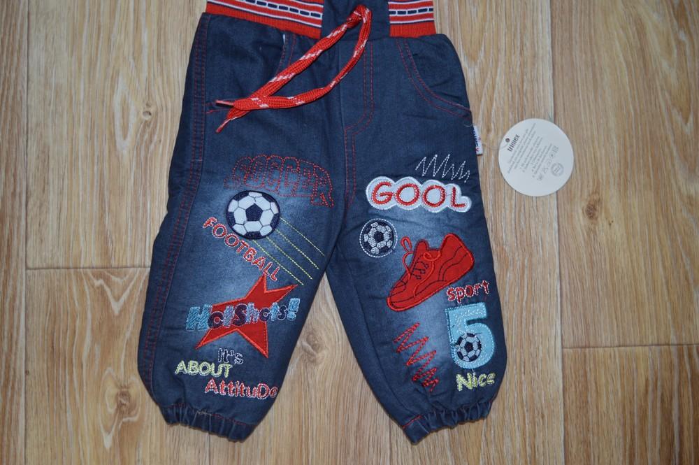 Новые джинсы на махре размер до года фото №1
