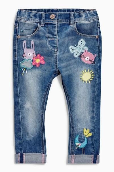 Крутые джинсы next с мультяшками р. 12-18 мес фото №1