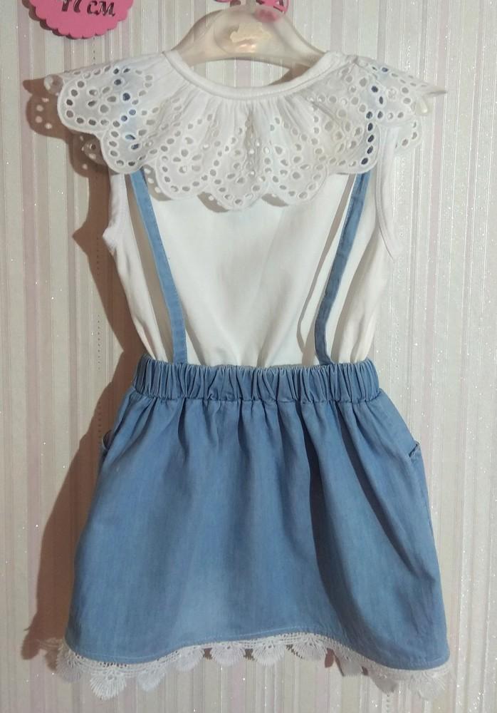 Нежное бело-голубое платье с оборками р. 3-4 года фото №3