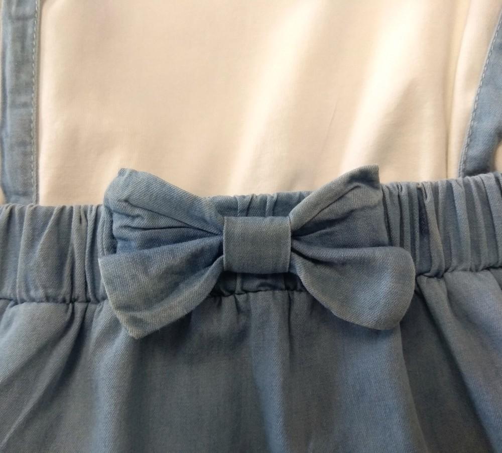 Нежное бело-голубое платье с оборками р. 3-4 года фото №4