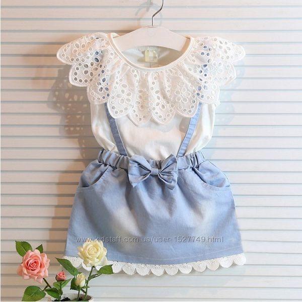 Нежное бело-голубое платье с оборками р. 3-4 года фото №1