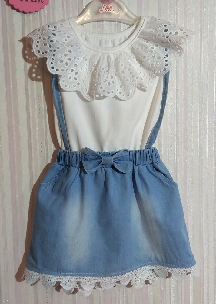 Нежное бело-голубое платье с оборками р. 3-4 года фото №2