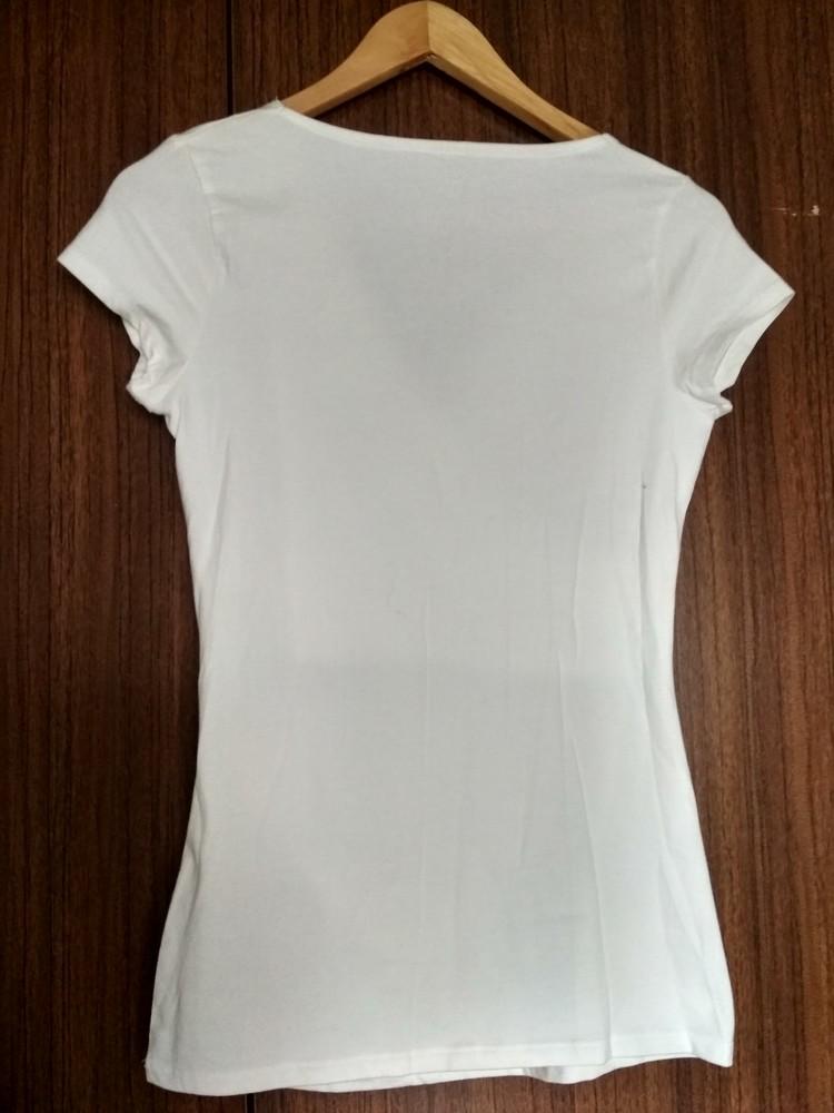Белая футболка туника merona usa, новая, с запахом на груди, хлопок, размер xs фото №3