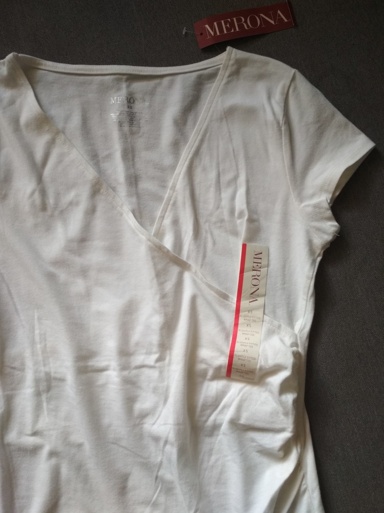 Белая футболка туника merona usa, новая, с запахом на груди, хлопок, размер xs фото №6