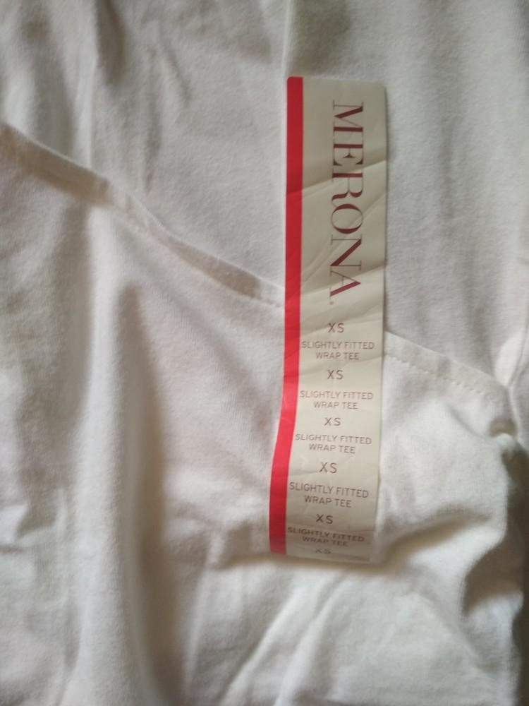 Белая футболка туника merona usa, новая, с запахом на груди, хлопок, размер xs фото №8