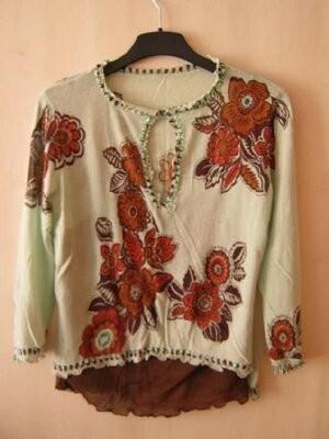 Блуза женская, летняя, этно стиль, хлопок-марлевка, наш р.48-50 фото №1