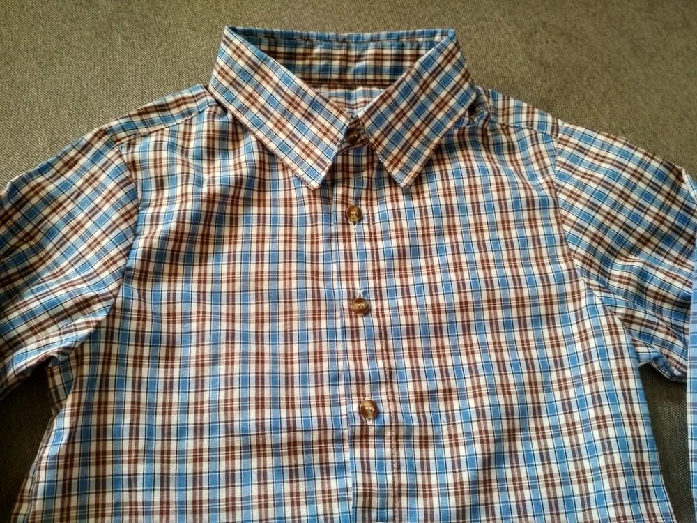 Рубашка swiss cross сша, синяя в клетку, тонкая – размер 5, мальчику на 5 лет фото №3