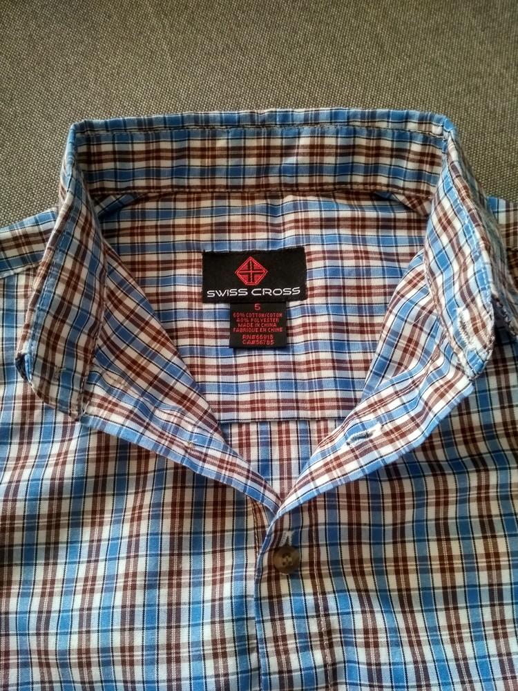 Рубашка swiss cross сша, синяя в клетку, тонкая – размер 5, мальчику на 5 лет фото №5