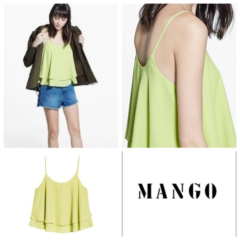 Mango широкий расклешенный двухслойный топ майка, на xs-s фото №6