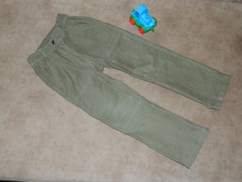 Штаны брюки детские цвет зелёный на мальчика 4-5 лет mothercare. фото №1